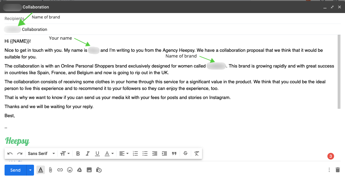 Email template to contact influencers